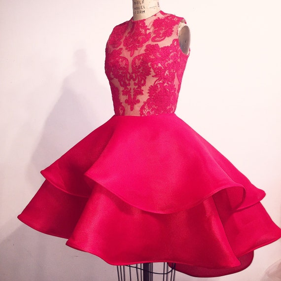 Irina Shabayeva Red Lace Applique two tiered cocktail dress