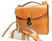 Hale 2354: Tucked Classic Lock Briefcase London Tan Sand Suede