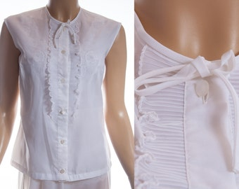 Adorable 1950's vintage soft sheer white nylon and gorgeous pleated nylon frill detail sleeveless button front blouse - DB227