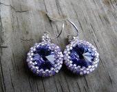 Lavender Sparkle Beadwoven Orchid Haze Rivoli Earrings.  Gift for Her.  Bridesmaid Earrings.