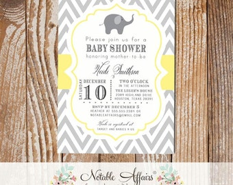 Gray and Light Butter Yellow Elephant Chevron Baby Shower Birthday or Gender Reveal Invitation - choose colors