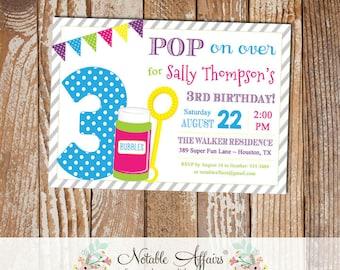 Pop on Over Bubbles Birthday Invitation - bright colors - horizontal diagonal stripes - Blowing Bubbles invitation