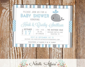 Gray and Light Blue Baby Whale Stripes and Polka Dots Baby Shower invitation - choose your colors - Whale Under the Sea Baby Shower