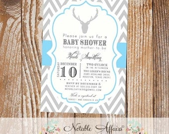 Gray and Ice Blue Chevron with Deer Head and Antlers Silhouette Baby Boy Shower Invitation - colors and wording can be changed
