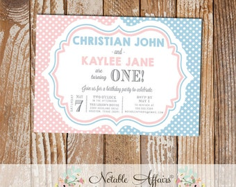 Light Blue and Light Pink Polka Dots TWINS modern birthday party invitation - choose your colors if needed - any age - Twins Birthday Party