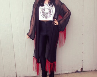 Black and Red Chiffon Fringe Robe Kimono