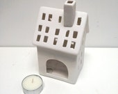 cute White Matte Ceramic china Tealight holder House