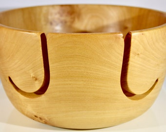 """1091 Yarn bowl, made from Figured Big Leaf Maple with a double """"J"""""""