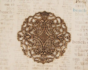 Gorgeous Round Filigree in Oxidized Brass  83mm -  3-1/4 Inches - Very Durable for Large Projects Very Intricate Details