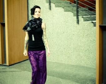 PURPLE CRUSHED VELVET maxi skirt