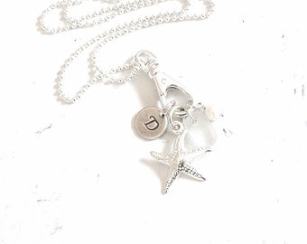 Sea Glass Jewelry, Starfish Necklace, Personalized Beach Jewelry, Sea Glass Necklace Sterling Silver Starfish Charm Necklace - Sample Sale.
