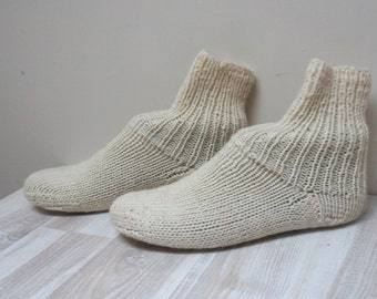 Women wool Socks hand knitted Leg warmers Stockings slippers size 4 5 white handmade teenager ready to ship milk off cream cable Lithuania