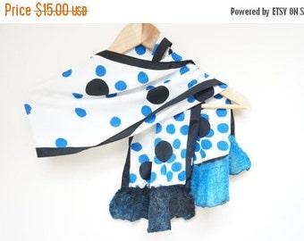 CIJ SALE Nuno felt wool silk polka dot shawl wrap scarf white black blue ruffle fringe acetate viscose rayon summer ooak