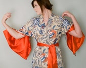 "The ""Haiku"". One custom made Haiku robe in cotton trimmed with satin. Bohemian kimono robe. Long womens robe Lined for modesty With pockets"