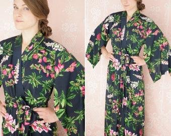 "One custom poetic ""Haiku"" sleeve robe or bridal dressing gown. Womens kimono robe Long Bridal robe Bohemian robe Faux silk robe with pockets"