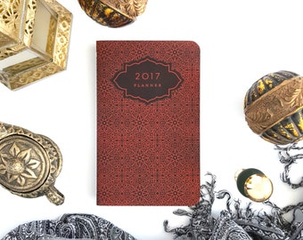"""2017 Planner — Moroccan Lights Burnished Red Hand Lettered Minimalistic Planner —5"""" x 8"""""""