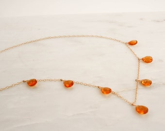 Citrine Pear Drop Necklace in 14K Gold