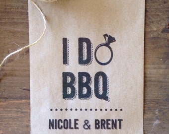 Utensil Holders For Wedding or Engagement Barbeque - I Do BBQ - Barn Wedding Favor Bags - Rustic Wedding Decor - set of 25