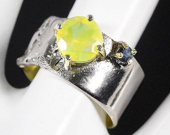 Handmade Fine Art Natural Opal 925 Sterling Silver Ring Size 7.75
