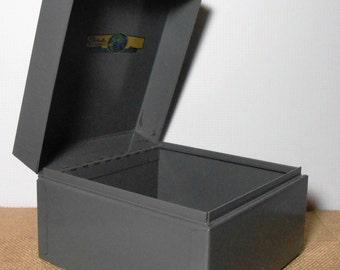 Vintage File Box, Steelmaster, Metal Box, Recipe Card Holder, Recipe Box, Grey, Index Card Holder, Office Supplies, Desk Supplies, Equipment