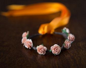 Boho Floral Garland for Hair Buns - PEACH & ORANGE ROSE