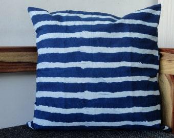 Indigo Stripes Pillow cover with Block Print thick Stripes, BlueStripes throw Pillow, Indigo cushion cover.