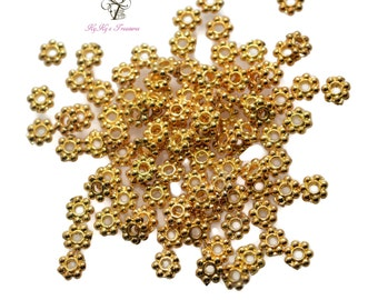 Gold Spacers, 5mm Daisy Spacers, Gold Plated Beads, Gold Beads, 20 Pieces Gold Daisy Spacers, Jewelry Findings, Jewelry Making Supplies