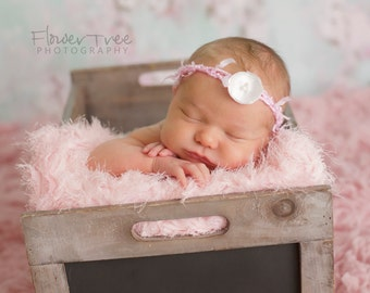 Newborn Halo Headband Pink Dainty Flower with Pearls Shabby Photography Prop, Pink Newborn Headband, Newborn Flower Halo, Newborn Girl Props