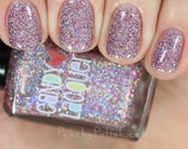 Peppermint Frosting  -  handmade holographic micro glitter holiday nail polish