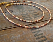 mixed metals anklet and bracelet set in bronze, copper, gold and silver beads shiny metallic beach jewelry