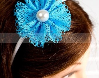 25 PERCENT OFF Turquoise Lace Flower, White Headband with Pearl Center