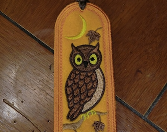 Embroidered Bookmark - Fall - Owl