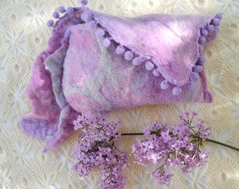 felted wool  felt clutch wallet bag purse boho hippie romantic  lilac purple accessories  Mother's Day gift  gift for her valentines gift
