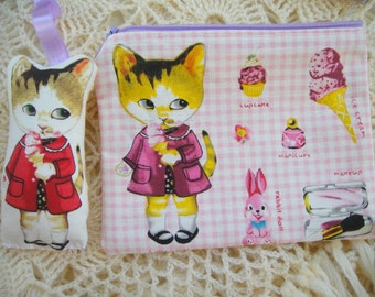 My cat loves ice cream - cat wallet with matching mini cat doll key chain, zipper wallet,cosmetic wallet