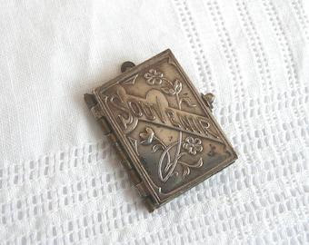 Silver souvenir book locket - French Catholic souvenir book - antique silver locket - antique silver book locket