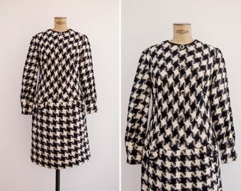 1960s Dress - Vintage 60s Houndstooth Dress - Tightrope Dress
