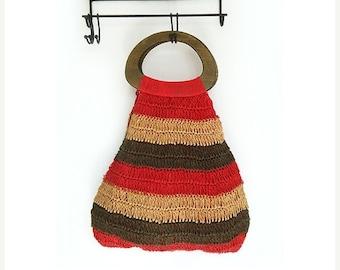 SALE Vintage Crochet Bag , Boho Bag with Wooden Handles.