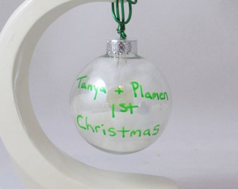 Couples First Christmas Ornament -2-2.5 inches - hand painted