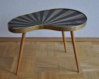 Rare Original Mid Century Plant Stand. Striped. Black and pearl beige. Plant stand. 1950s. Small Table. Germany. 1080