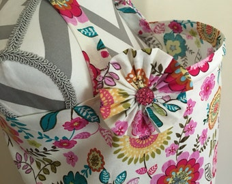 Nursing cover- floral print nursing cover with a fabric flower clippie - Ready to ship