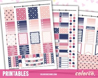 HEARTS Printable Planner Stickers Kit Set | Erin Condren, ECLP | Happy Planner | Instant Digital Download
