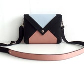 SALE Felt Leather Crossbody Bag Black Pink Blue