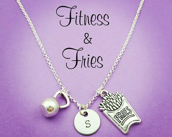Fitness and Fries Necklace, Custom Fitness Necklace, Kettlebell Necklace, French Fries, Workout and Rewards, Fitness Motivation, Gym