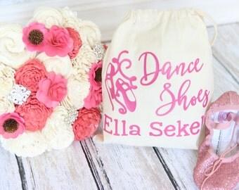 Dance Shoes Tote Bag Drawstring Dance Ballet Shoes Bag