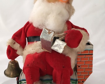 Very Old Santa on the Rooftop - Eyes Light Up - Made in Japan - Fantastic Condition