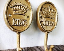 BOLD his and hers wall hook set // metallic gold victorian coat towel hook // king & queen // shabby cottage rustic chic // gift set