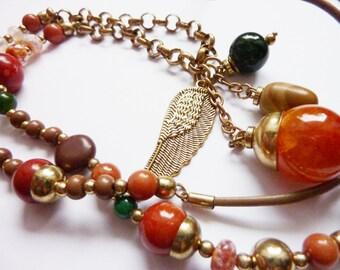 Angel Wing Pearl Charm Necklace, Gemstone, Hippie Folk Jewelry