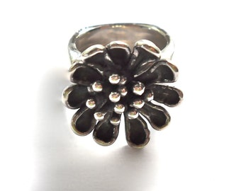 STERLING SILVER 925 Modernist Single Flower Wide Band Ring
