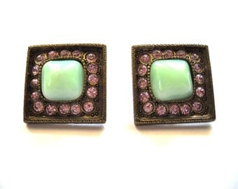 Designer POGGI PARIS  French Bijoux Couture Green Domed Glass & Pink Rhinestone Vintage Earrings