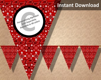 Crimson Red Bandana Banner, Bandanna, Country Western Bandana Party Decorations, Instant Download, DIY Printable Party Decorations